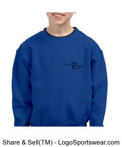 Youth Sweatshirt with printing on two sides. (Choose any color) Design Zoom